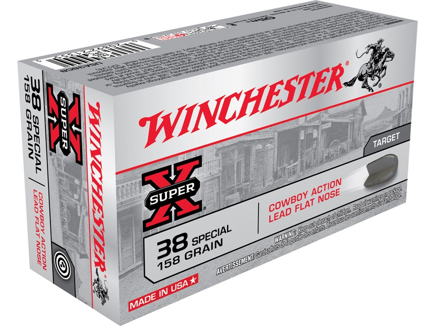 Winchester USA Cowboy Ammunition 38 Special 158 Grain Lead Flat Nose