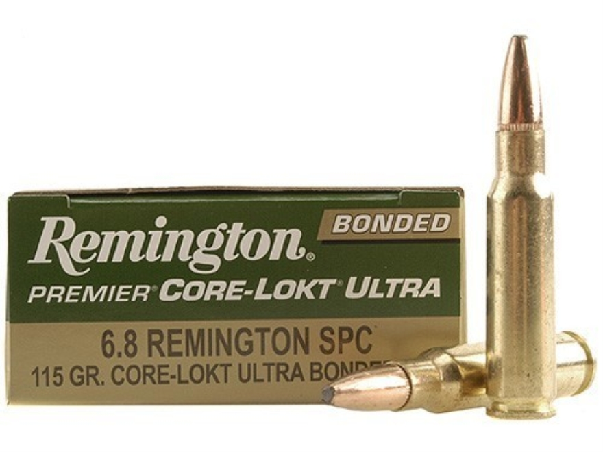 Remington Premier Ammunition 6.8mm Remington SPC 115 Grain Core-Lokt Ultra Bonded Pointed Soft Point Box of 20