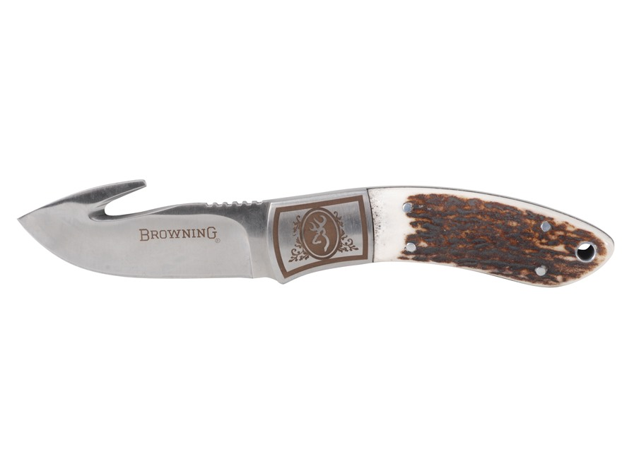 "Browning Packer Fixed Blade Knife 3.125"" Drop Point with Gut Hook Sandvik 12C27 Stainless Steel Blade Stag Handle"