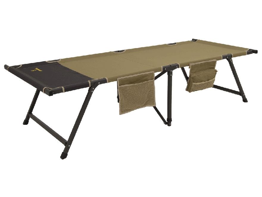 Browning Titan XP Camp Cot Aluminum Frame Polyester Top Khaki and Coal