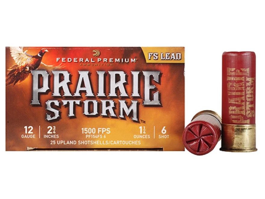 "Federal Premium Prairie Storm Ammunition 12 Gauge 2-3/4"" 1-1/4 oz #6 Plated Shot Box of 25"