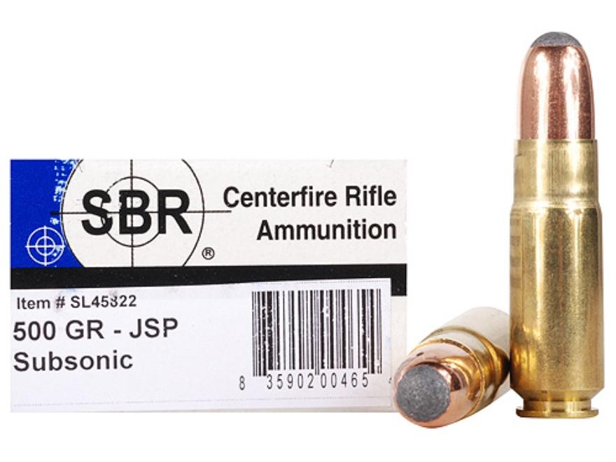 SBR Ammunition 458 SOCOM 500 Grain Hornady Jacketed Soft Point Subsonic Box of 20