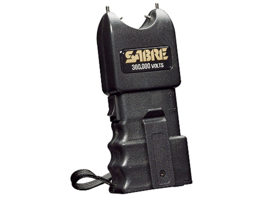 Sabre 300,000 Volt Stun Gun uses Two 9 Volt Batteries (Not Included) Polymer Black