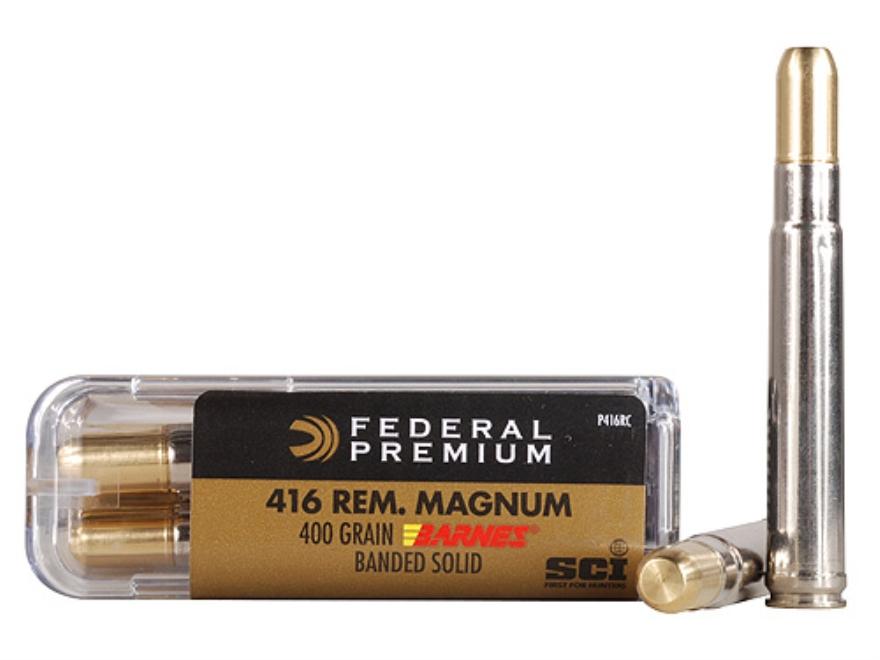 Federal Premium Cape-Shok Ammunition 416 Remington Magnum 400 Grain Barnes Banded Solid Flat Point Box of 20
