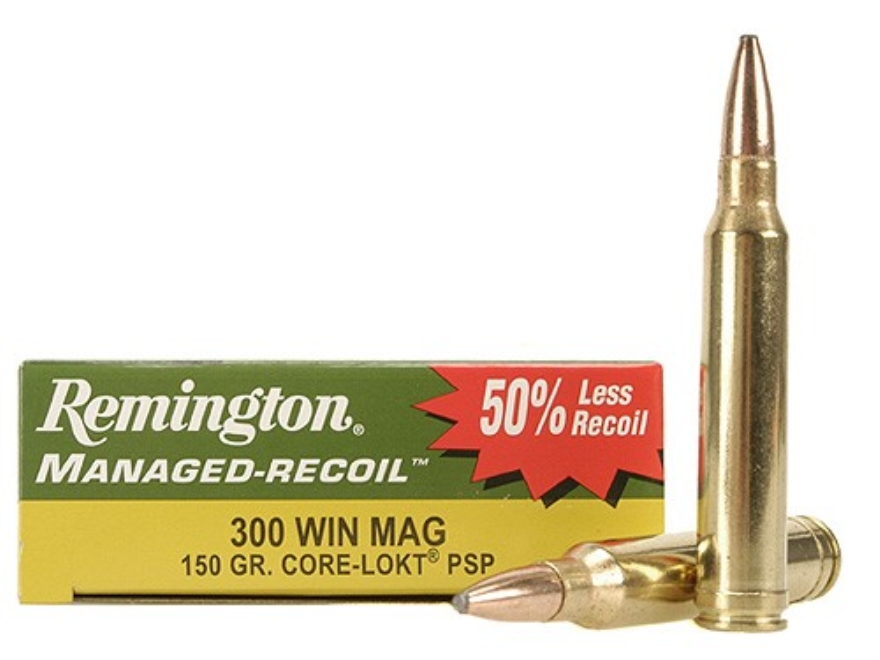 Remington Managed-Recoil Ammunition 300 Winchester Magnum 150 Grain Core-Lokt Pointed S...