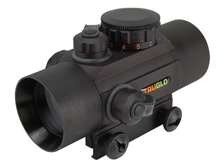 TRUGLO Xtreme Red Dot Sight 30mm Tube 1x Red and Green 4-Pattern Reticle (10 MOA Dot, Crosshair with 1.5 MOA Peep, 3 MOA Center Dot, Crosshair) with Integral Weaver-Style Base