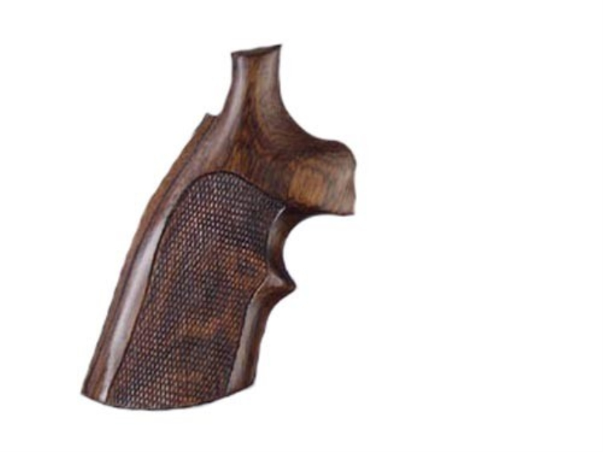 Hogue Fancy Hardwood Grips with Top Finger Groove Dan Wesson Large Frame Checkered