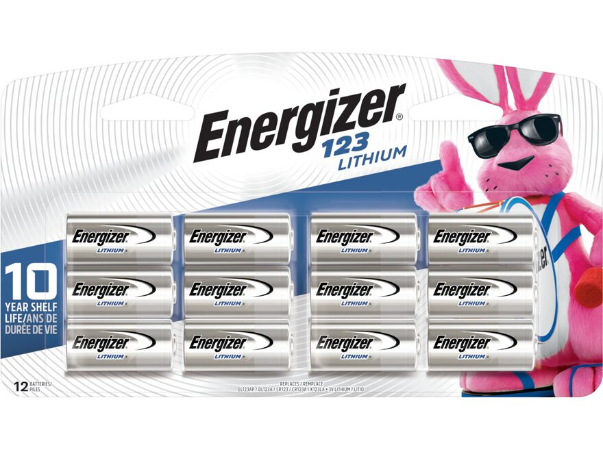 Energizer Battery CR123A (EL123A) 3 Volt Lithium Pack of 12