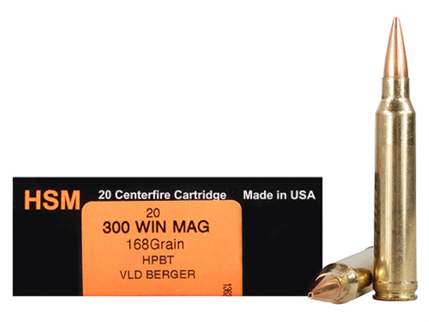 HSM Trophy Gold Ammunition 300 Winchester Magnum 168 Grain Berger Hunting VLD Hollow Point Boat Tail Box of 20