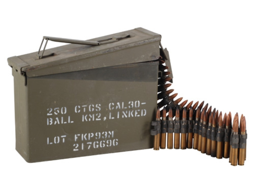 Military Surplus Ammunition 30-06 Springfield 150 Grain Full Metal Jacket Boat Tail M2 Ball PS-75 Headstamp Boxer Primed 250 Linked Rounds in Ammo Can