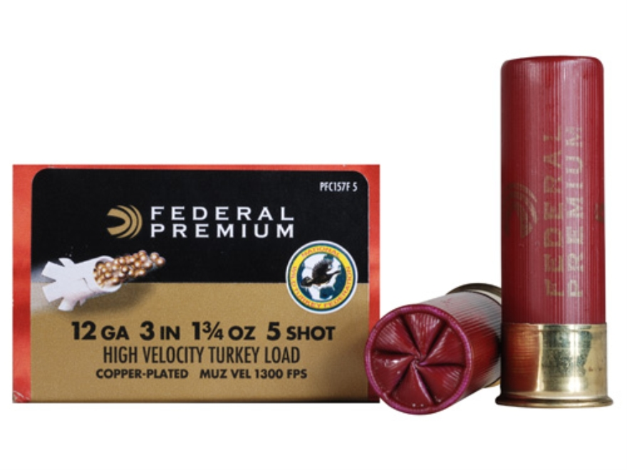 "Federal Premium Mag-Shok Turkey Ammunition 12 Gauge 3"" 1-3/4 oz #5 Copper Plated Shot High Velocity Box of 10"