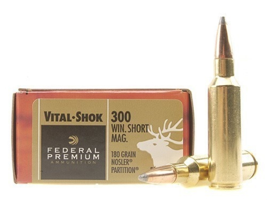 Federal Premium Vital-Shok Ammunition 300 Winchester Short Magnum (WSM) 180 Grain Nosler Partition Box of 20