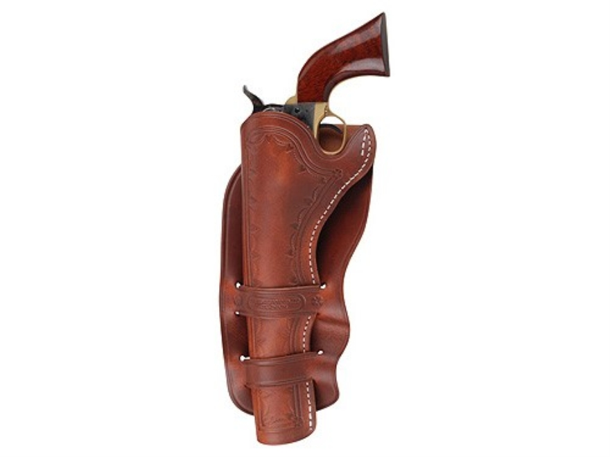 "Oklahoma Leather Cheyenne Double Loop Holster Left Hand Single Action 5.5"" Barrel Leather Brown"