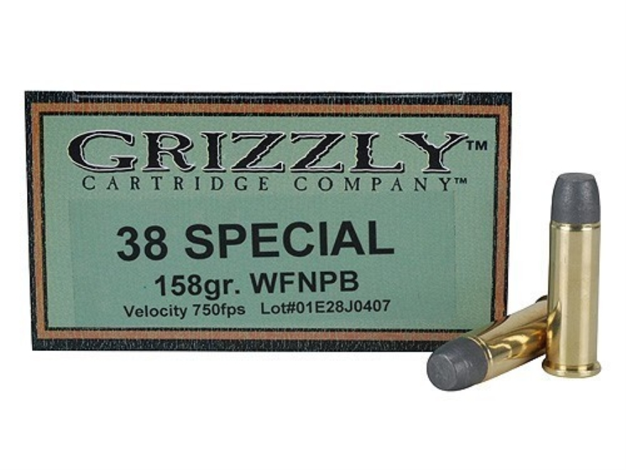 Grizzly Ammunition 38 Special 158 Grain Lead Wide Flat Nose Plain Base Box of 20