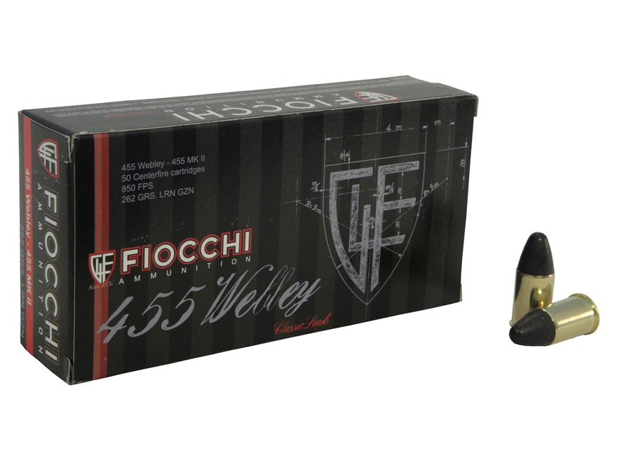 Fiocchi Ammunition 455 Webley Mark 2 262 Grain Lead Round Nose Box of 50