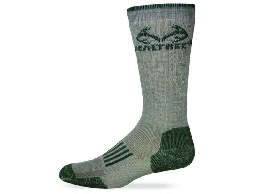 Realtree Men's Merino Midweight Boot Socks Merino Wool Blend Tan and Green Large (9-13)...