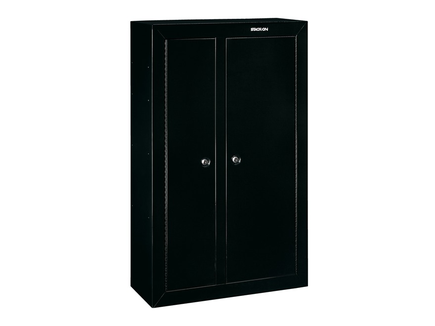 stack on double door steel security 10 gun cabinet black