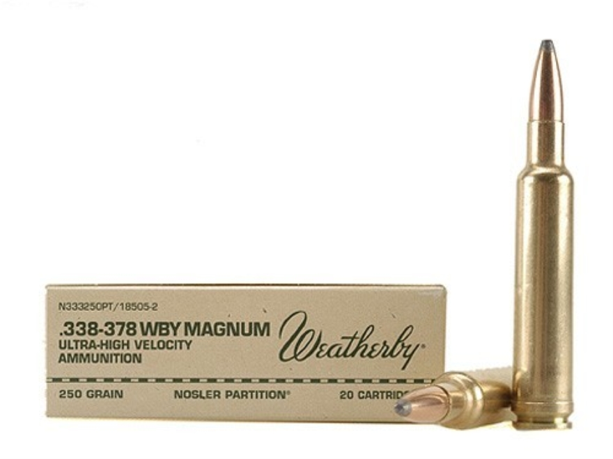 Weatherby Ammunition 338-378 Weatherby Magnum 250 Grain Nosler Partition Box of 20