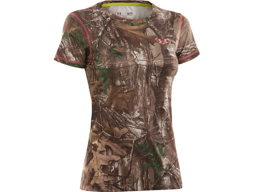 Under Armour Women's EVO HeatGear Crew Shirt Short Sleeve Polyester Realtree Xtra Camo ...