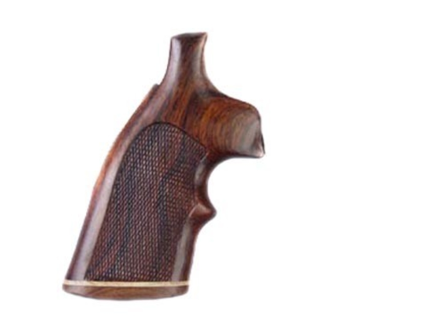 Hogue Fancy Hardwood Grips with Accent Stripe and Top Finger Groove Dan Wesson Small Frame Checkered