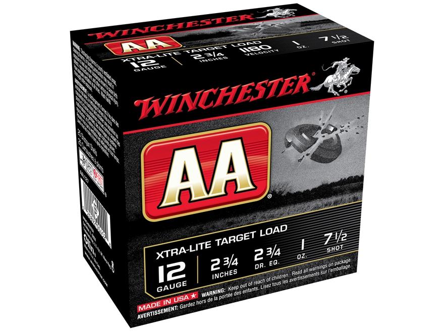 """Winchester AA Xtra-Lite Target Ammunition 12 Gauge 2-3/4"""" 1 oz of #7-1/2 Shot"""