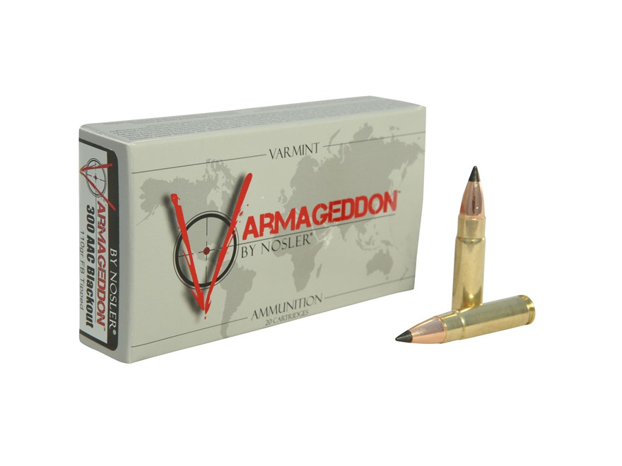 Nosler Varmageddon Ammunition 300 AAC Blackout 110 Grain Tipped Flat Base Box of 20