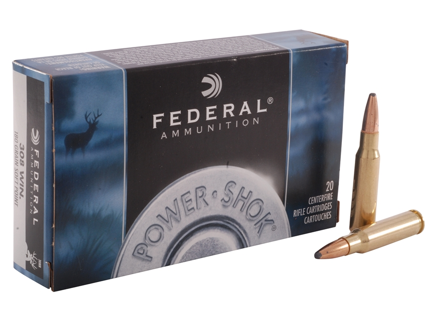 Federal Power-Shok Ammunition 308 Winchester 180 Grain Soft Point Box of 20