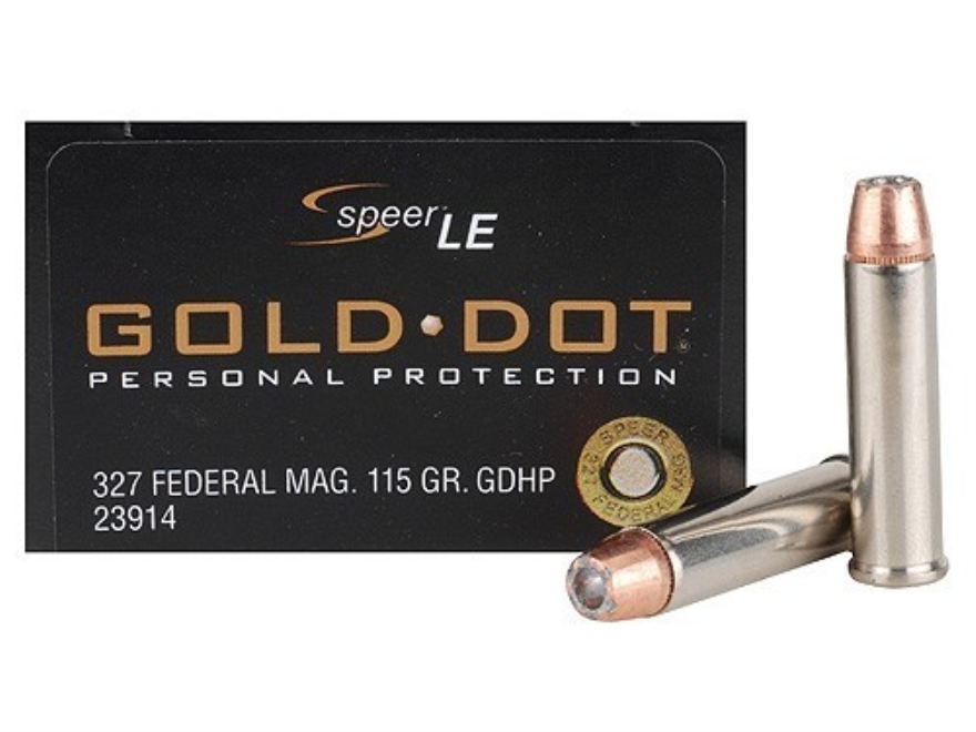 Speer Gold Dot Ammunition 327 Federal Magnum 115 Grain Jacketed Hollow Point Box of 20