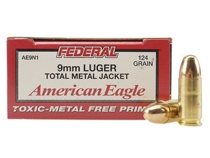 Federal American Eagle Ammunition 9mm Luger 124 Grain Total Metal Jacket Box of 50