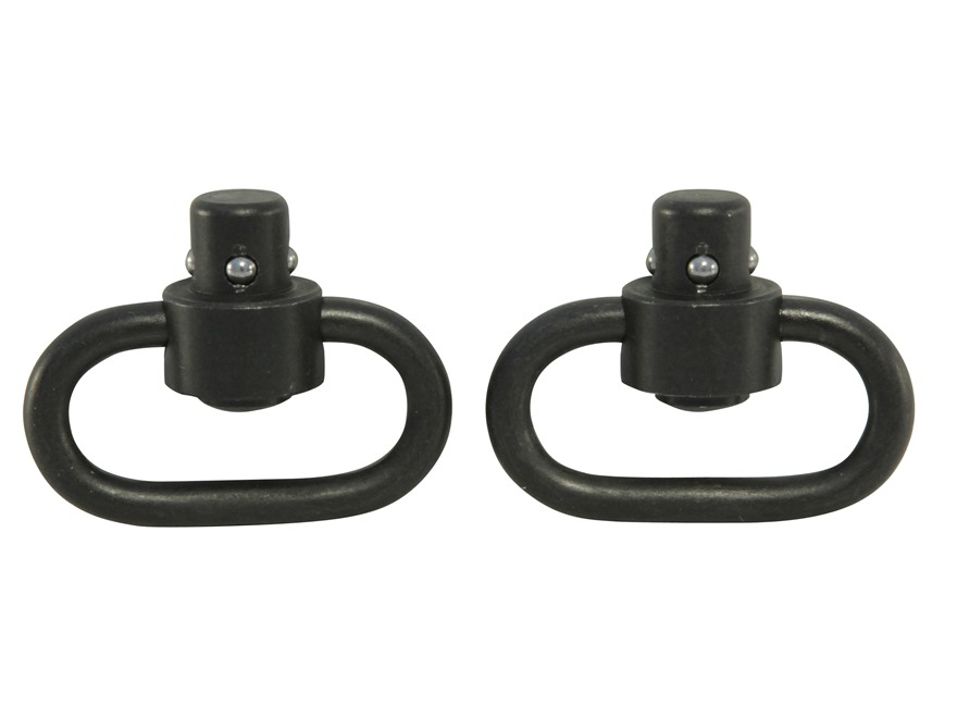"GrovTec Heavy Duty Push Button Quick Detach Sling Swivel 1-1/4"" Steel Pack of 2 Black"