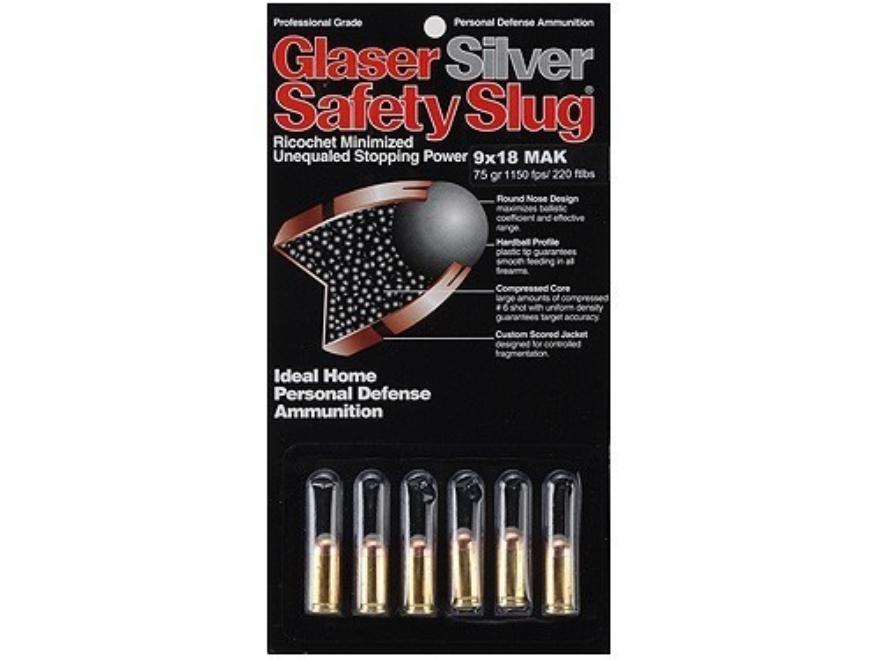 Glaser Silver Safety Slug Ammunition 9x18mm (9mm Makarov) 75 Grain Safety Slug Package of 6