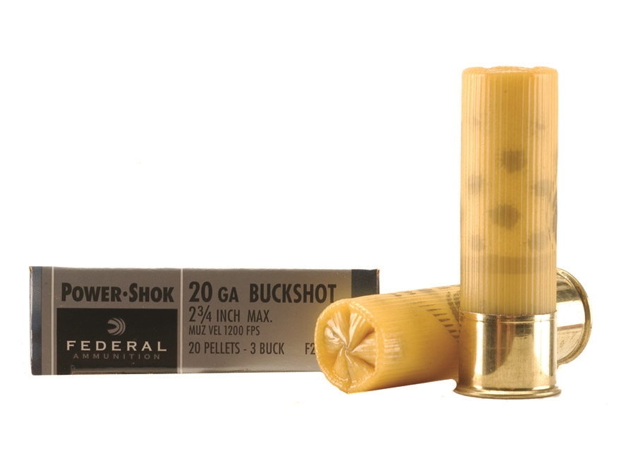 "Federal Power-Shok Ammunition 20 Gauge 2-3/4"" Buffered #3 Buckshot 20 Pellets Box of 5"