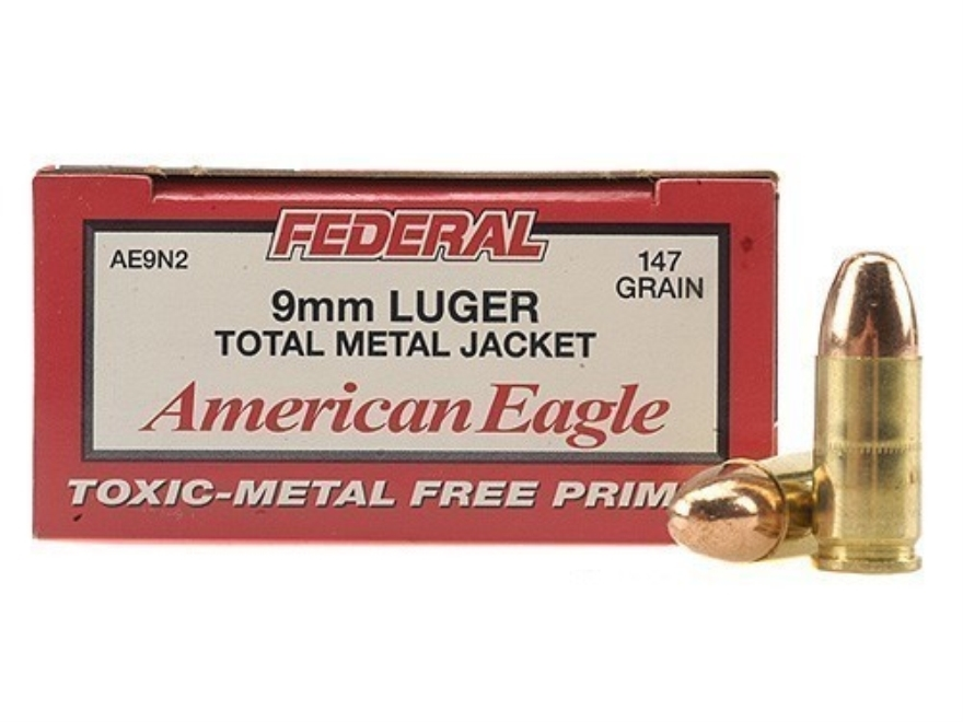 Federal American Eagle Ammunition 9mm Luger 147 Grain Total Metal Jacket Box of 50