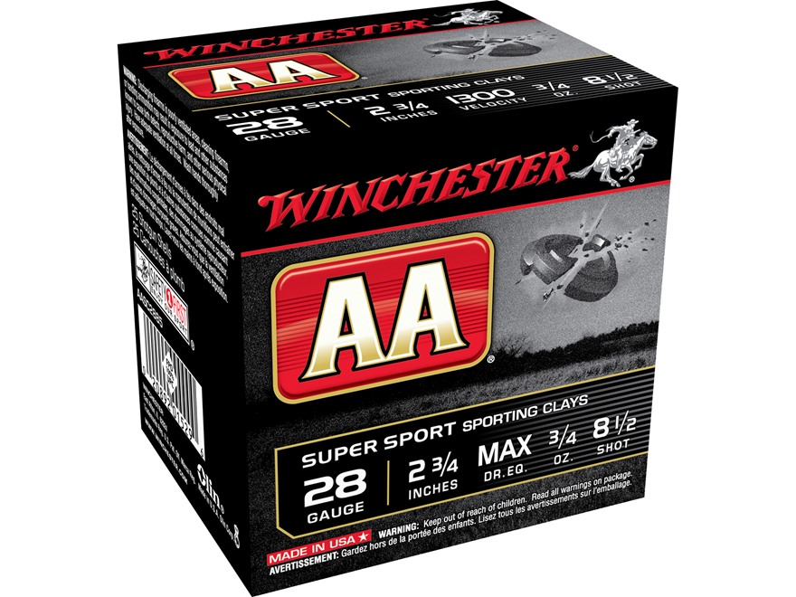 "Winchester AA Super Sport Sporting Clays Ammunition 28 Gauge 2-3/4"" 3/4 oz #8-1/2 Shot"