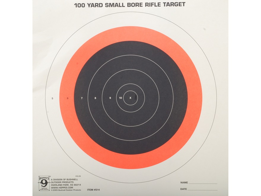 Hoppe's Single Bull Target 100 Yard Small Bore Package of 20