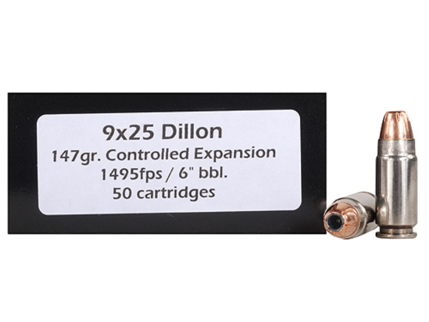 Doubletap Ammunition 9x25mm Dillon 147 Grain Controlled Expansion Jacketed Hollow Point Box of 50