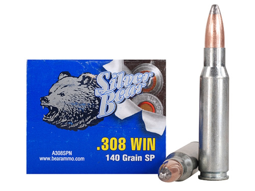 Silver Bear Ammunition 308 Winchester 140 Grain Soft Point (Bi-Metal) Box of 20
