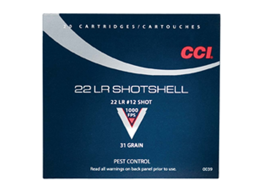 CCI Shotshell Ammunition 22 Long Rifle 31 Grain #12 Shot Box of 20