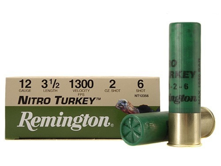 "Remington Nitro Turkey Ammunition 12 Gauge 3-1/2"" 2 oz of #6 Buffered Shot Box of 10"