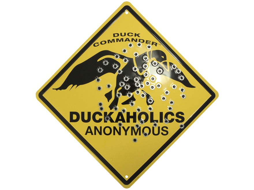 Duck Commander Duckaholic Sign Metal Yellow and Black