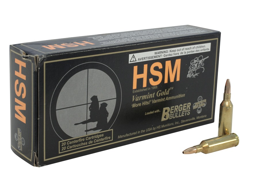 HSM Varmint Gold Ammunition 17 Remington Fireball 25 Grain Berger Varmint Hollow Point Flat Base Box of 20