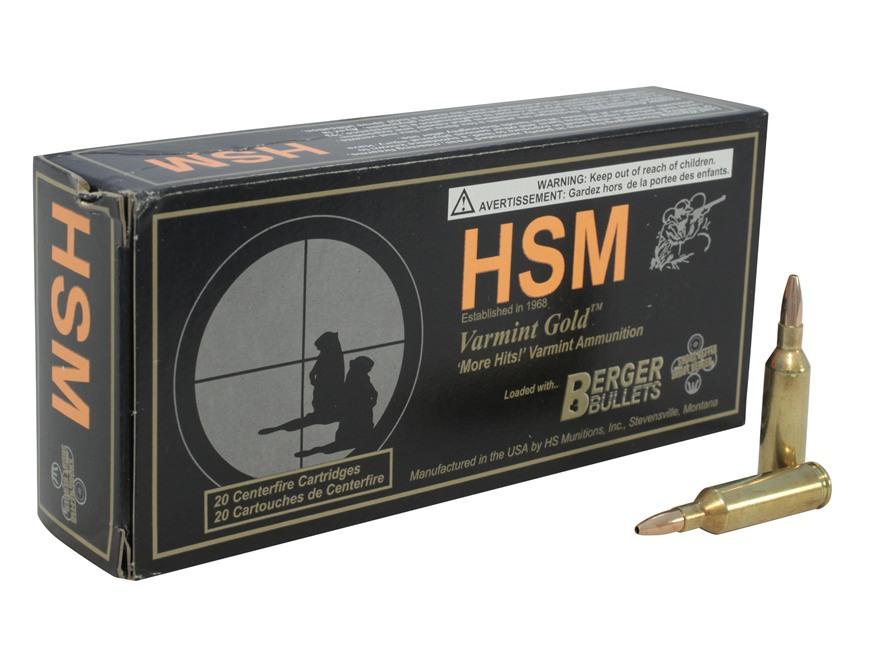 HSM Varmint Gold Ammunition 17 Remington Fireball 25 Grain Berger Varmint Hollow Point Flat Base Box of 20