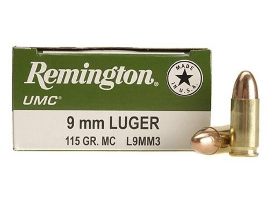 Remington UMC Ammunition 9mm Luger 115 Grain Full Metal Jacket