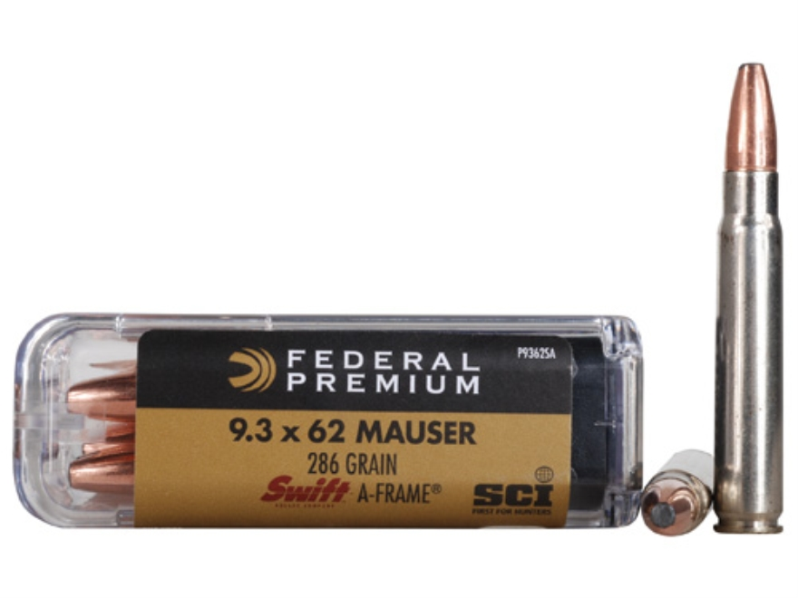 Federal Premium Cape-Shok Ammunition 9.3x62mm Mauser 286 Grain Swift A-Frame Box of 20