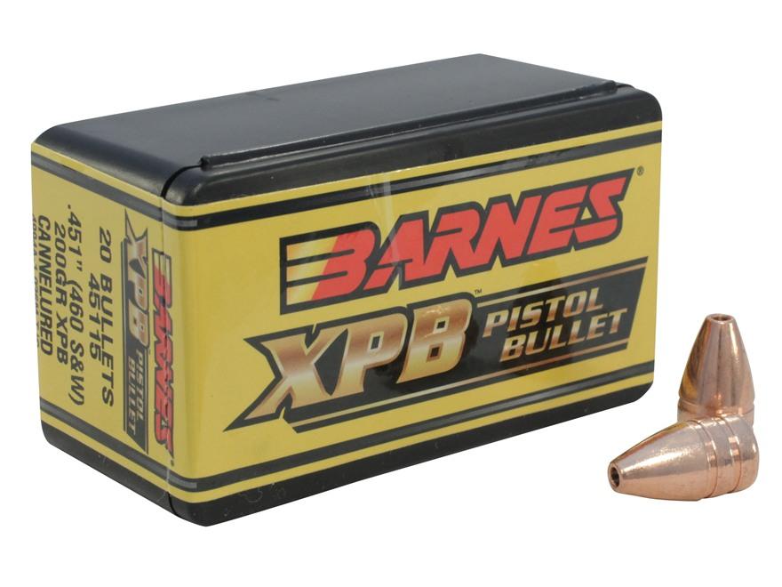Barnes XPB Handgun Bullets 460 S&W (451 Diameter) 200 Grain Solid Copper Hollow Point Lead-Free Box of 20
