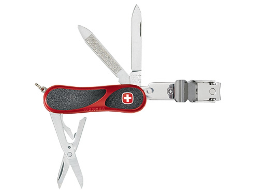 Wenger Swiss Army EvoGrip Clipper Folding Knife 8 Function Swiss Surgical Steel Blades Polymer Scales Red