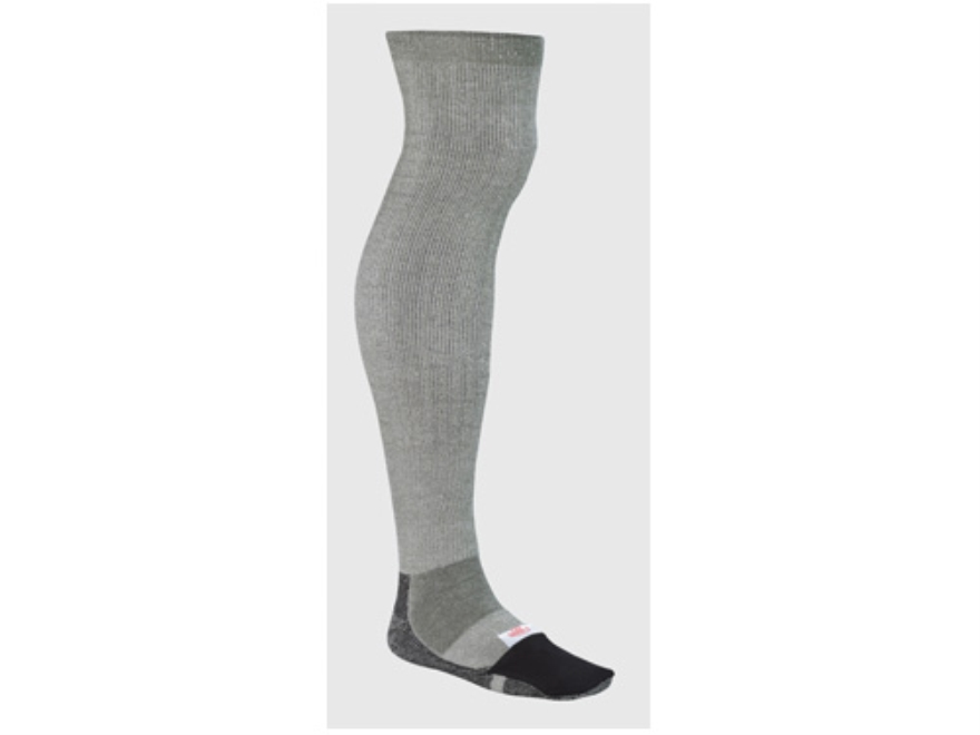 Wise Hunters Extra Long Sock with Warmer Pocket Wool Blend Gray and Black 10-13