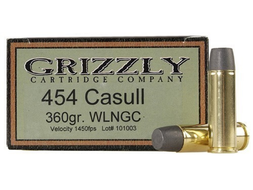 Grizzly Ammunition 454 Casull 360 Grain Cast Performance Lead Wide Flat Nose Gas Check Box of 20