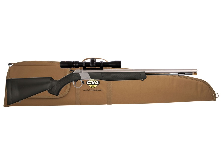 CVA Wolf Muzzleloading Rifle 50 Caliber with KonusPro 3-9 x 32mm Scope Black and Stainless Steel