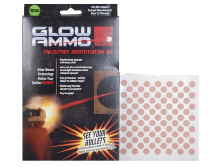 Glow Ammo Trajectory Identification Kit 9mm, 38 Caliber, 380 Caliber (330 Diameter) 1 grain box of 255 Red Trace